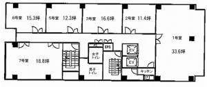 タカ大阪梅田ビル基準階間取り図