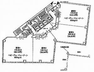梅田北プレイスビル基準階間取り図