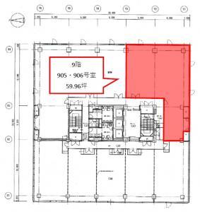 LUCID SQUARE UMEDA(ルーシッドスクエア梅田)9階間取り図