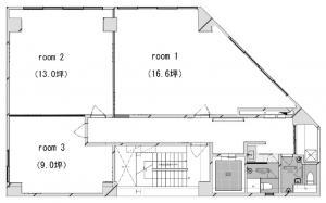 モジュール新大阪ビル基準階間取り図
