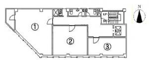 日宝船場ビル基準階間取り図
