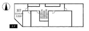 肥後橋建和ビル3階間取り図