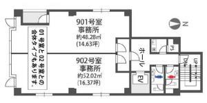 上本町IBPタワー9階間取り図