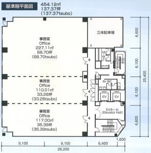 堺筋本町ガーデンスクエアビル基準階間取り図