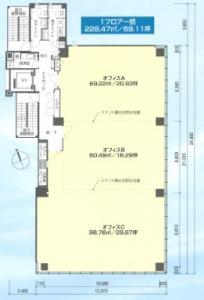 心斎橋イーストスクエアビル基準階間取り図