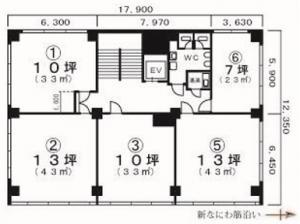 奥内第8ビル基準階間取り図