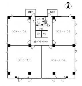 第6新大阪ビル基準階間取り図