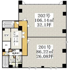 ホワイティ島之内ビル2階間取り図