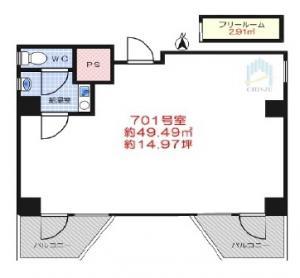 西天満ワークビル701号室間取り図