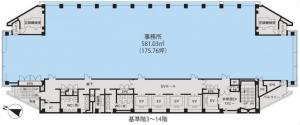 東京建物梅田ビル基準階間取り図
