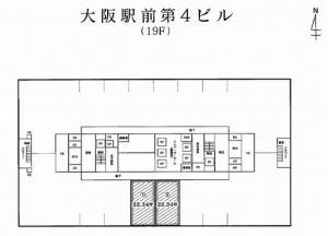 大阪駅前第4ビル基準階間取り図