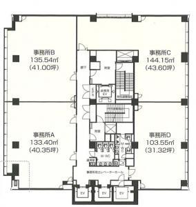 アステリオ北堀江ビル基準階間取り図