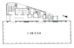 コウヅキキャピタルウエストビル基準階間取り図