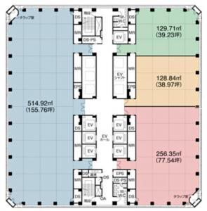 ツイン21(MIDタワー・TWIN21)ビル基準階間取り図