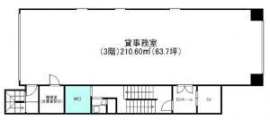 岡地ビル3階間取り図
